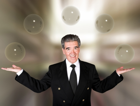 business man with glass bubbles